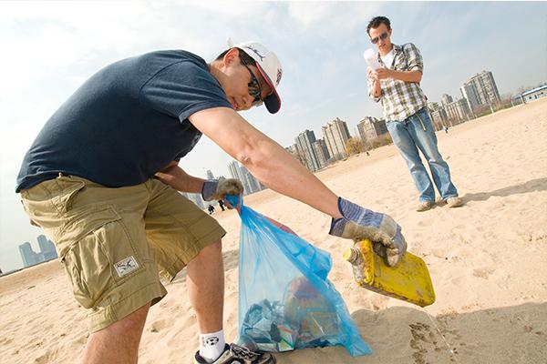Volunteers cleanup their beach