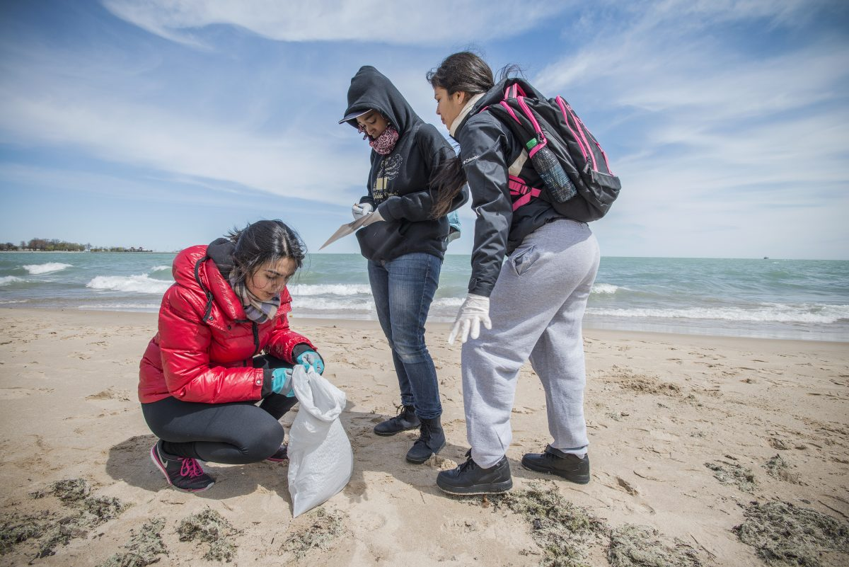 Adopt-a-Beach volunteers cleaning up a beach in Chicago