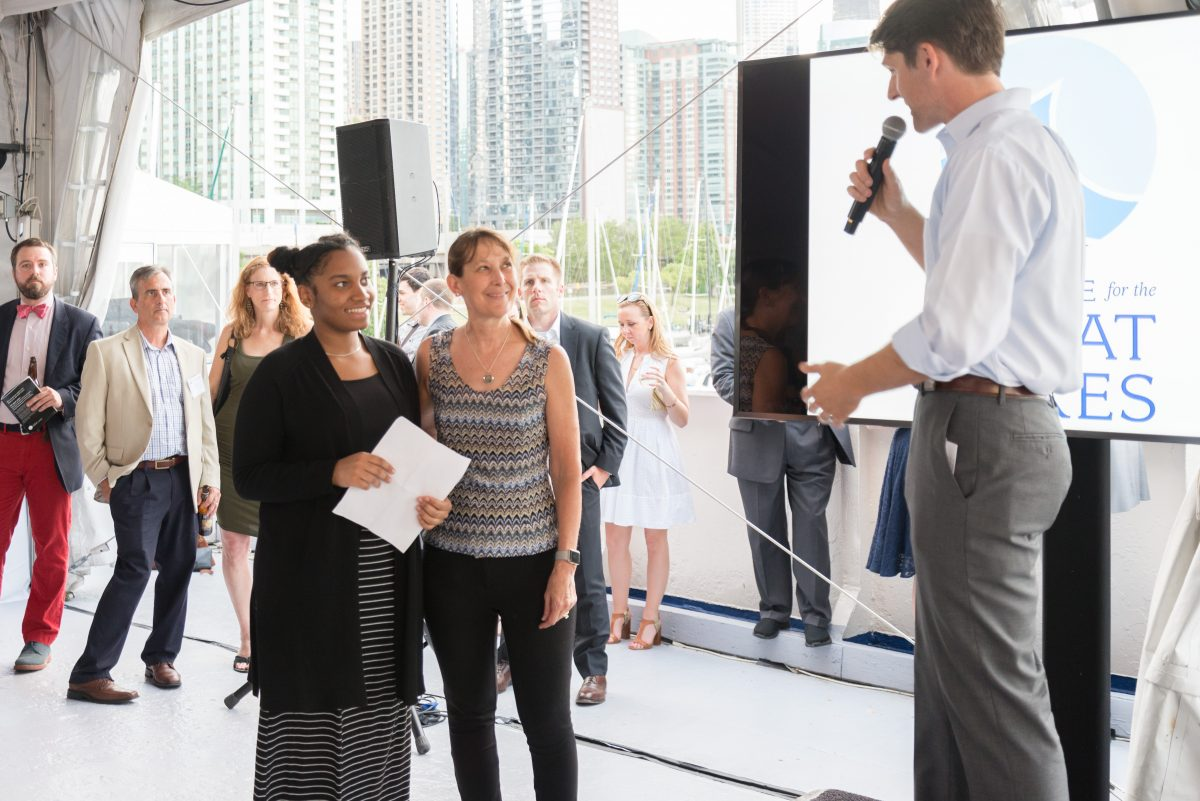 Teacher Cheryl Dudeck and student Devona of King College Prep are honored at the 2017 Great Blue Benefit