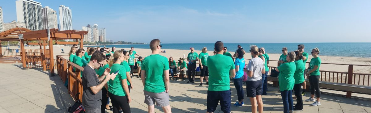 Beam Suntory employees at Oak Street Beach Adopt-a-Beach cleanup