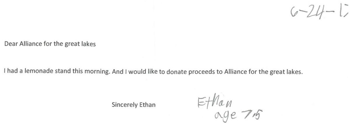 A letter from Ethan, the owner of the lemonade stand.