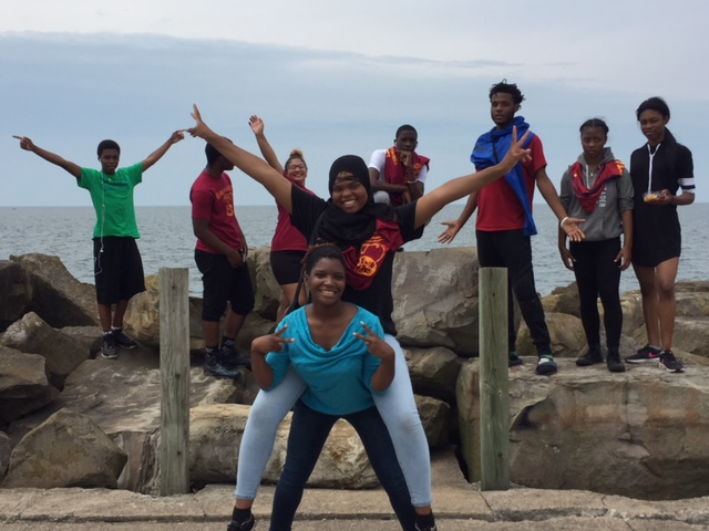 Students from Martin Luther King Jr. High School at Lake Erie in Cleveland