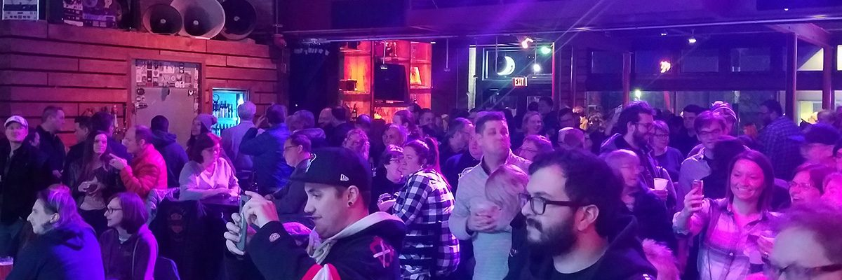 A crowd gathered around the stage at Brewery Band Ballyhoo