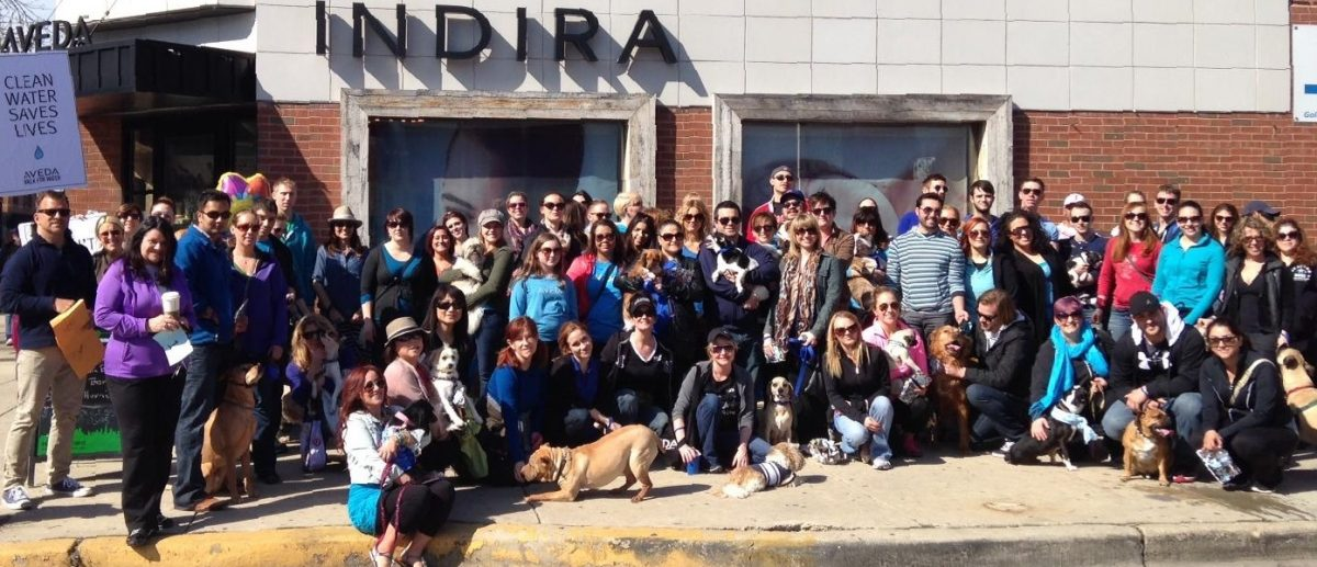 Group photo at Indira Aveda Lifestyle Salon Spa's Dog Walk for Clean Water.