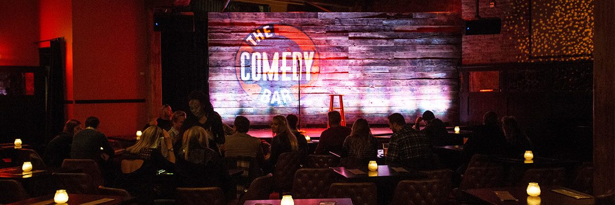 Stage at comedy bar