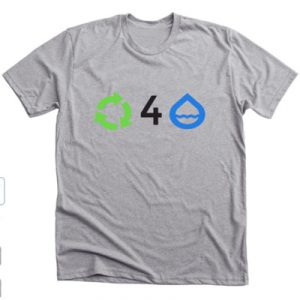 Grey t-shirt with recycling symbol, the number four, and a water droplet.