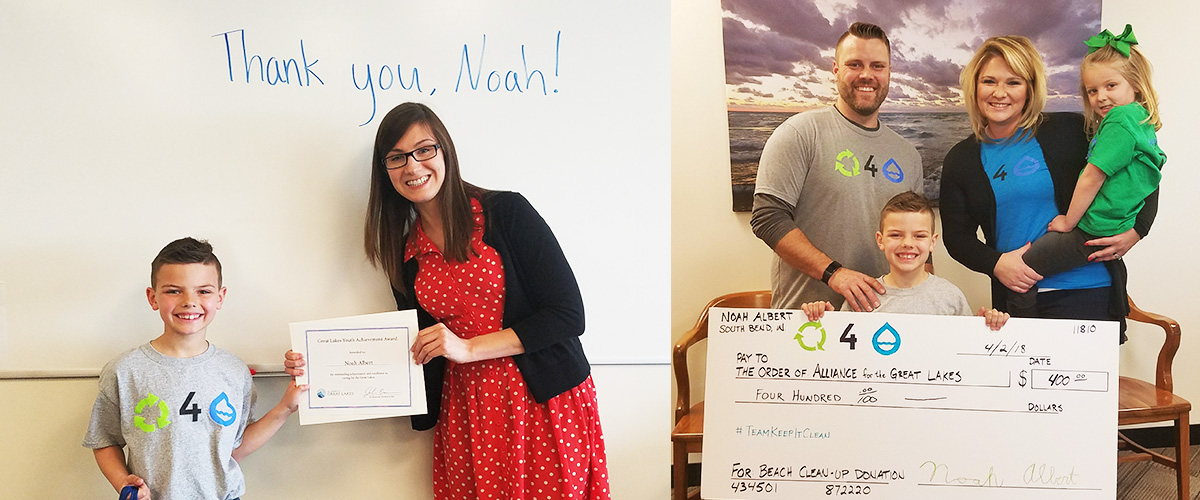 Left: Alliance for the Great Lakes Development Coordinator Carolyn Rudinsky presents Noah Albert with a certificate celebrating his achievement. Right: Noah Albert and his family present the Alliance with a super sized check donation for $400.