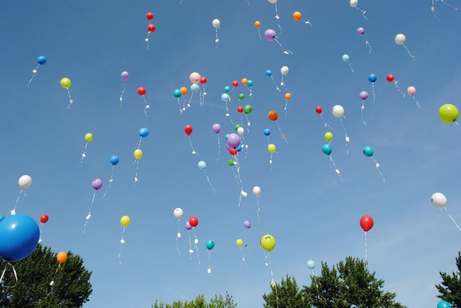 Balloons flying into the air