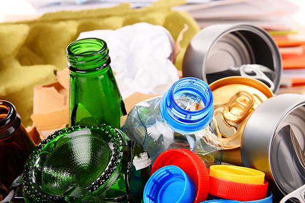 Plastic bottles, bottle caps, and cans