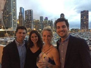 Jenny Solberg Katzman with husband Taylor Katzman (right) with friends (left) at the Great Blue Benefit in 2017.