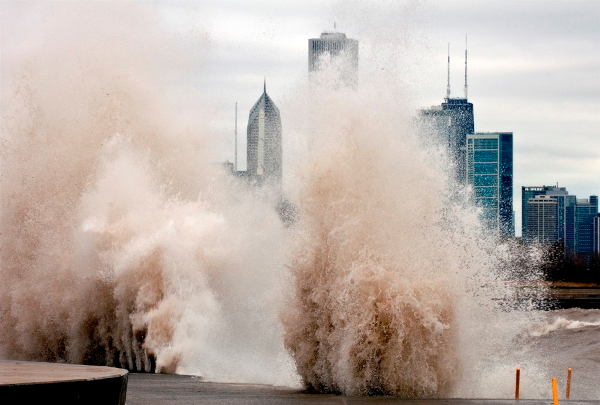 Huge wave splashing against Chicago's lakeshore during Superstorm Sandy, photo by Lloyd DeGrane